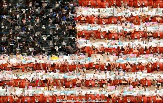 Большая мозаика флага США из взрослых картинок